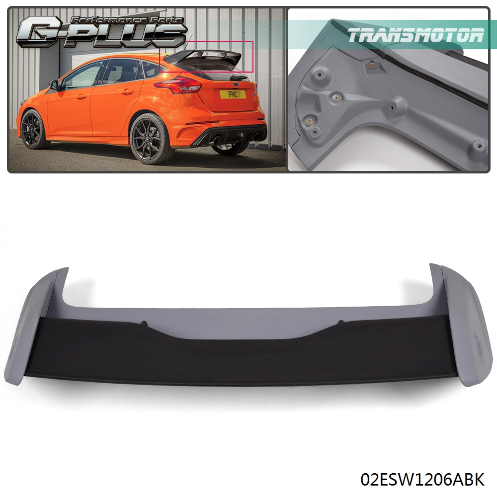 RS Style Rear Roof Wing Spoiler For 2012-2018 Ford Focus Hatchback Black