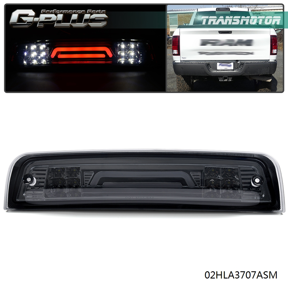 For 09-17 Dodge RAM Truck 3D LED Bar 3rd Third Tail Brake Light Rear Cargo Lamp Black//Smoked